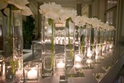 Cocktail area was simple but soooo elegant with 160 white peonies lined up like soldiers.