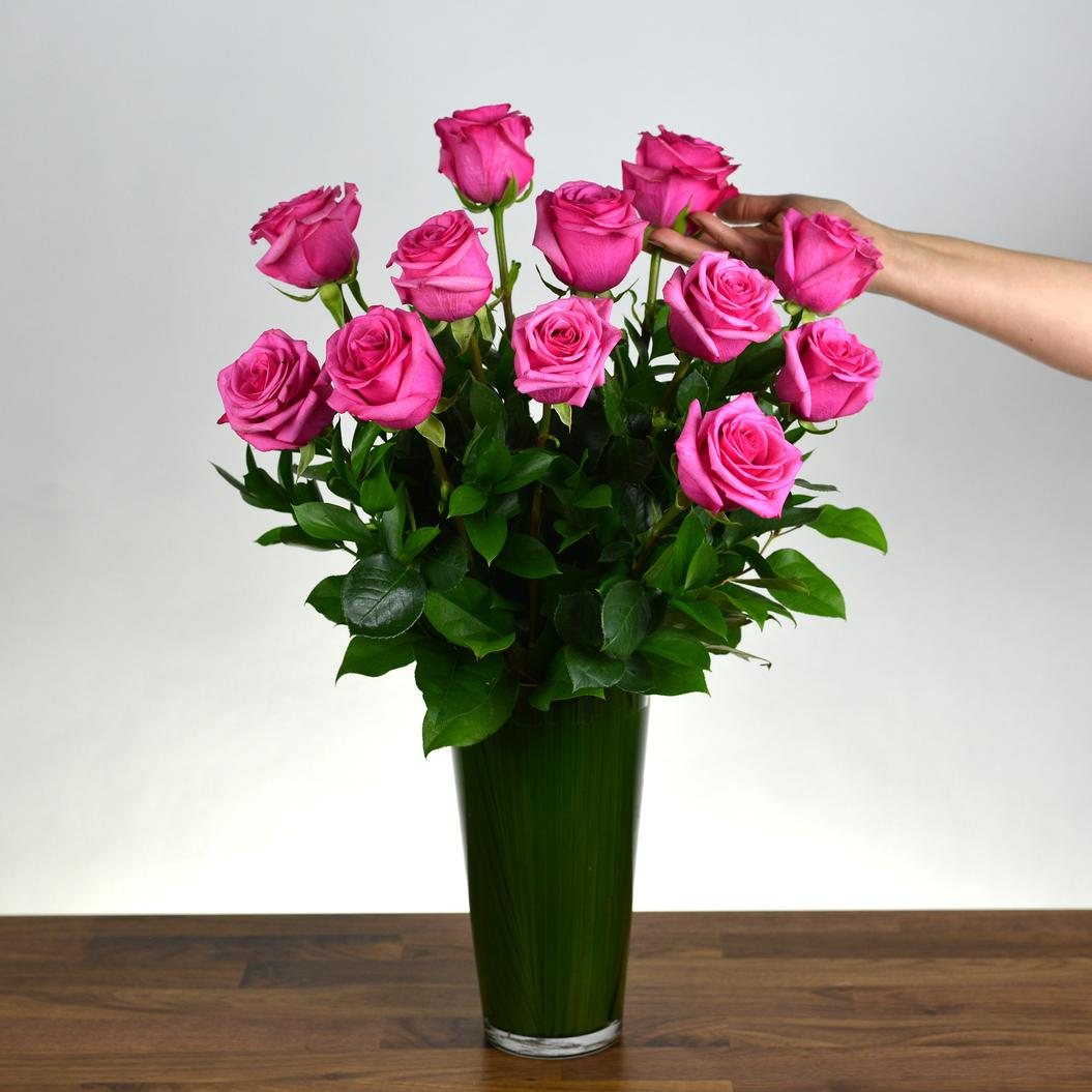 12 Stiletto Roses Arranged