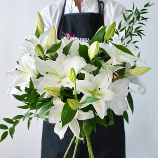 White Lilies With Ruscus